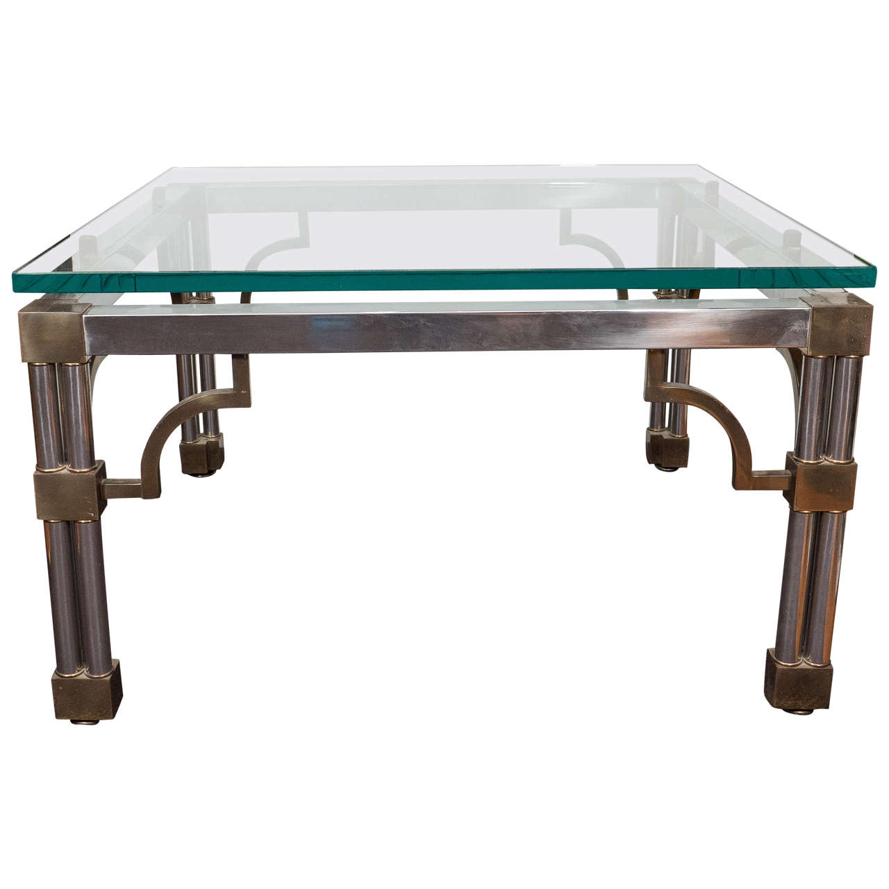 Asian Inspired Glass Top Chrome Coffee Table with Brass Detail