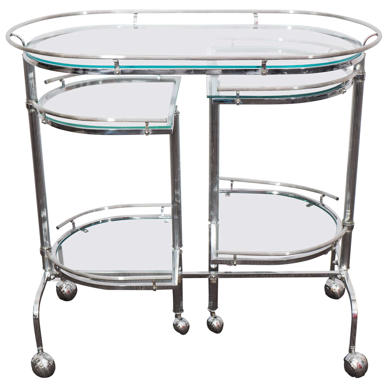 Midcentury Five Tier Expandable Chrome Bar Cart At 1stdibs