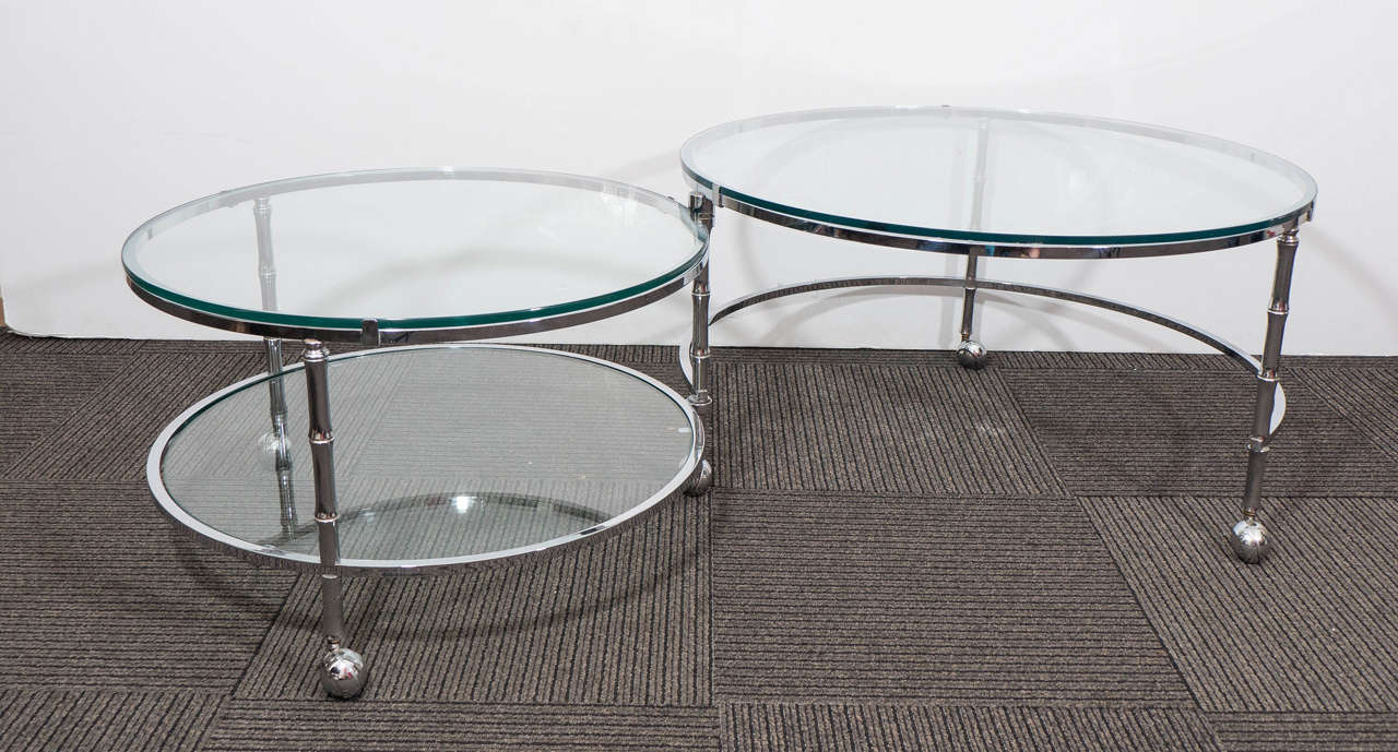 midcentury three tier round chrome coffee table in the style of