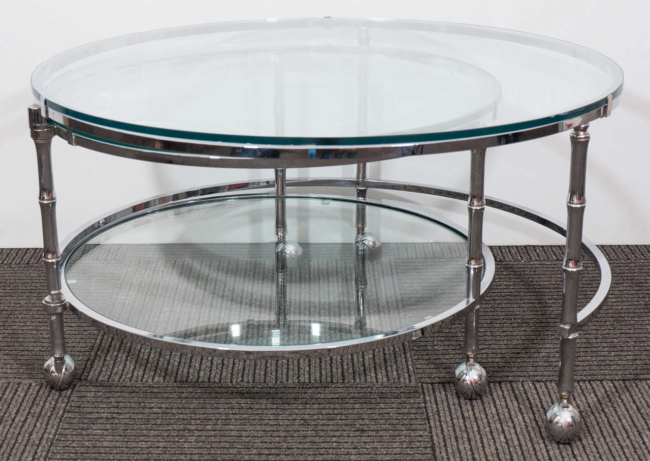 Midcentury Three Tier Round Chrome Coffee Table In The Style Of Milo Baughman At 1stdibs