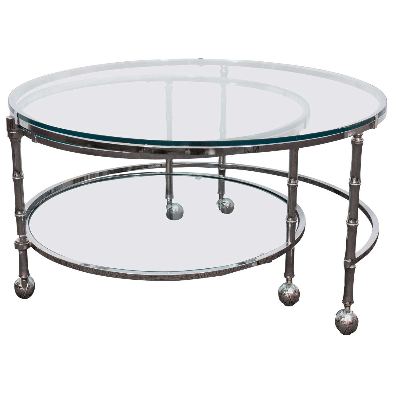 Midcentury Three Tier Round Chrome Coffee Table In The Style Of Milo  Baughman 1
