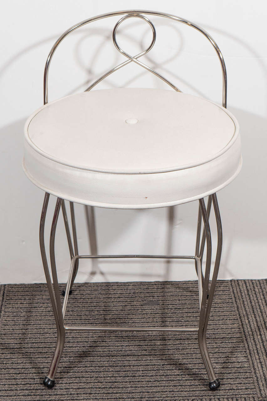pair of vanity stools with white seats by george koch sons inc 2