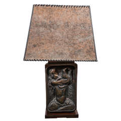 Hugo Robus Modernist Bronze Table Lamp for Silas Snider & Co.