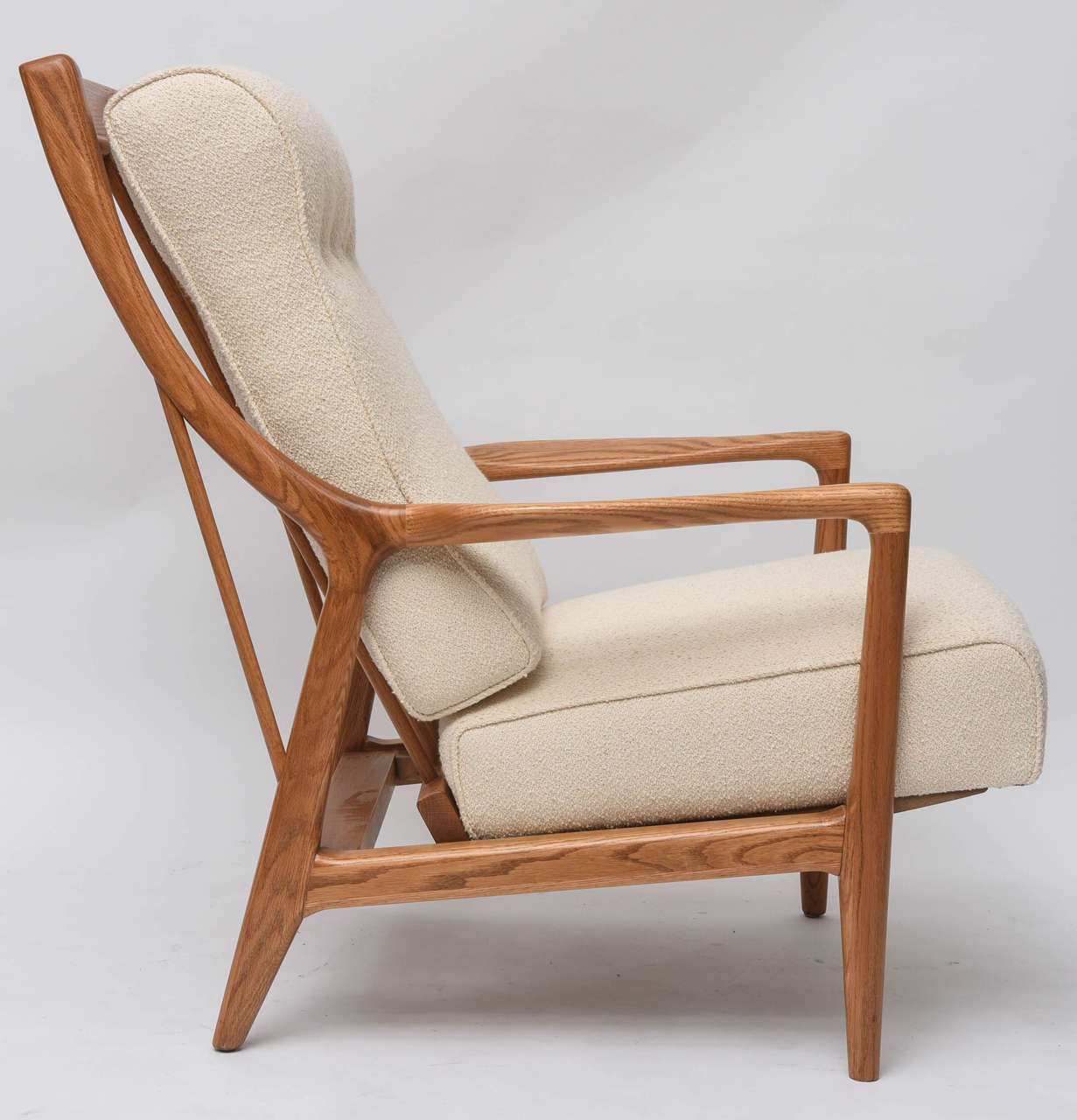 1950s Oak Reclining Chair With Ottoman At 1stdibs