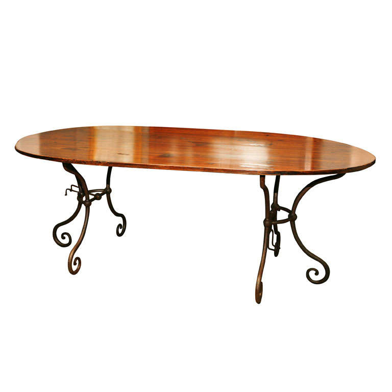 Oval Metal Base Dining Table at 1stdibs