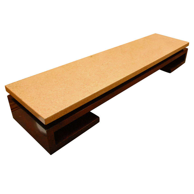 Long Low Cork Top Coffee Table Bench By Paul Frankl For Johnson At 1stdibs