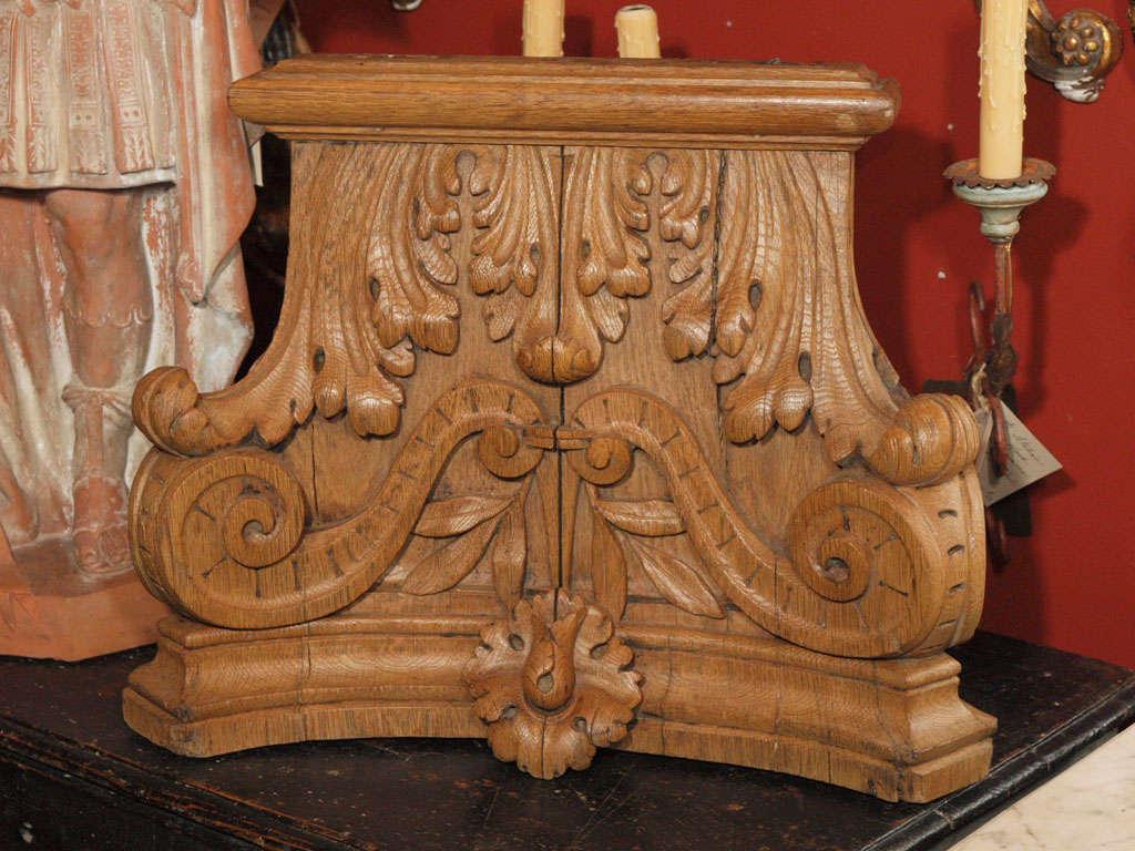 Carved wood column capital image