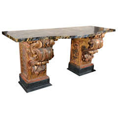 17th Century Pedestals as Console Table