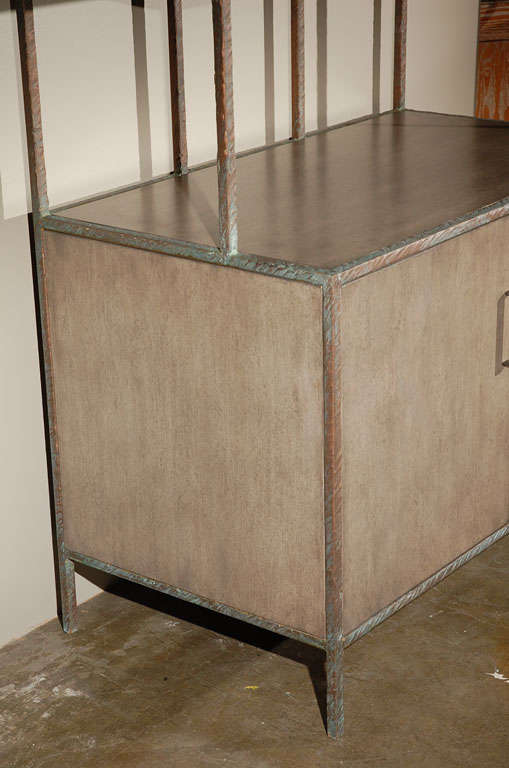 Metal Paul Marra Bookcase in Faux Bronze For Sale