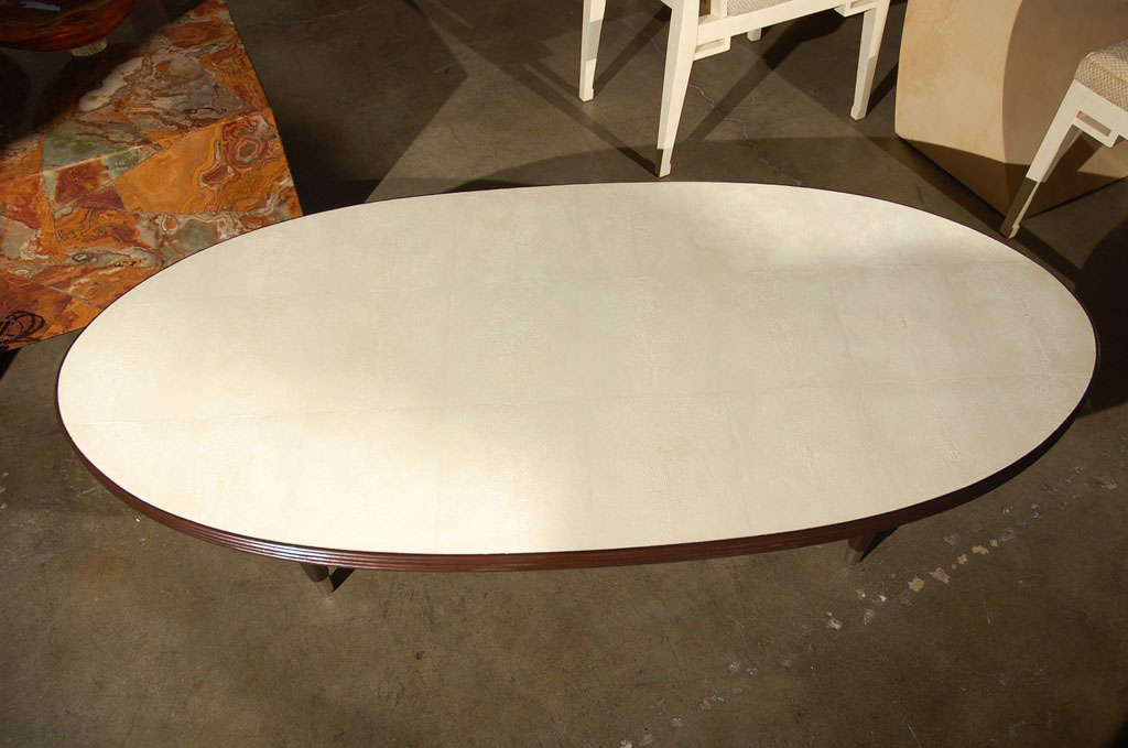Oval Cocktail Table with Shagreen Top 5