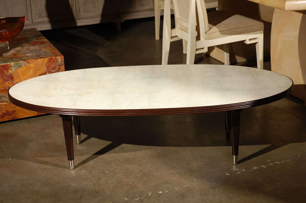 oval cocktail table with shagreen top at 1stdibs