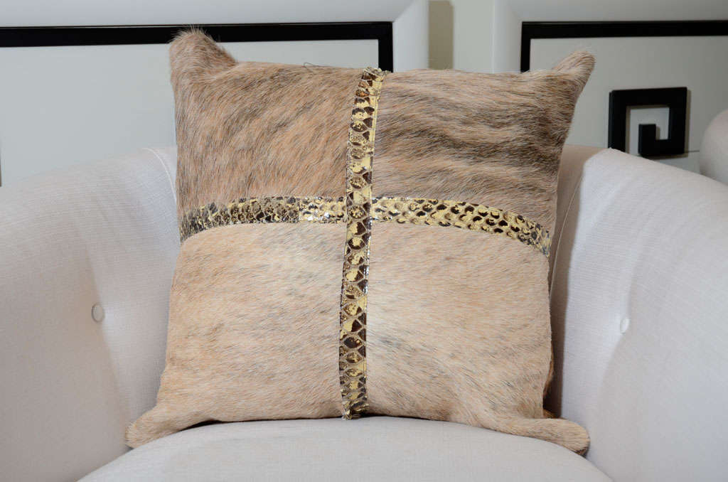 Custom Brindle Cowhide Pillow With Python Trim At 1stdibs