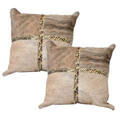 Custom Brindle Cowhide Pillow with Python Trim