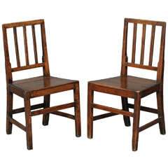 Pair of Early 19th Century English Country Oak Side Chairs