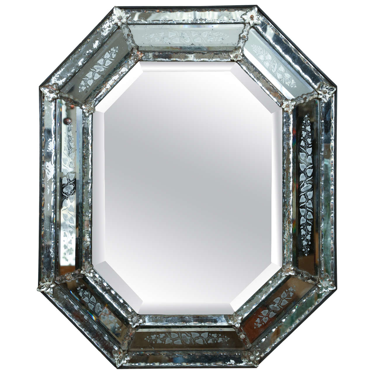 Venetian mirror with mercury glass etched frame circa for Glass mirrors for walls