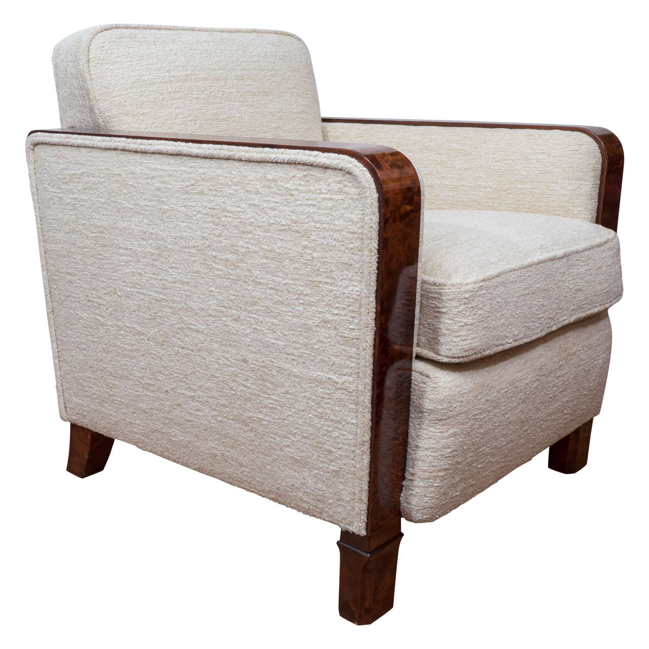 Art Deco Club Chairs In Chanel Style Cream Wool Boucle For Sale