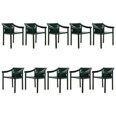 Set of Ten Stained Wood and Black Leather Dining Armchairs, circa 1980