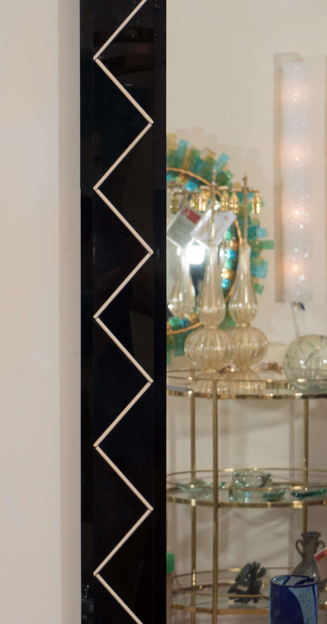 Italian Rectangular Mirror with Black Glass and Zig Zag Design For Sale