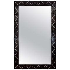 Rectangular Mirror with Black Glass and Zig Zag Design