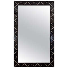 Rectangular Mirror with Black Glass and Zig Zag Design