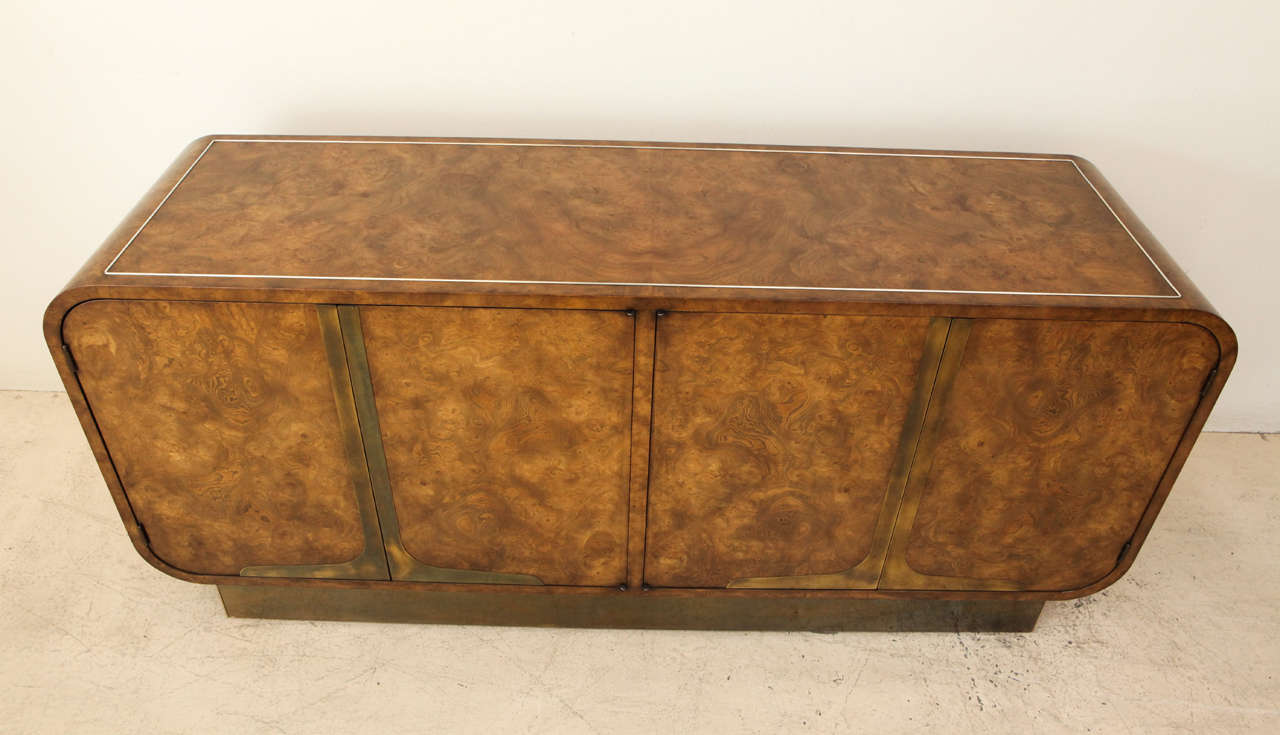 Mid-20th Century Burled Elmwood Cabinet by Mastercraft For Sale