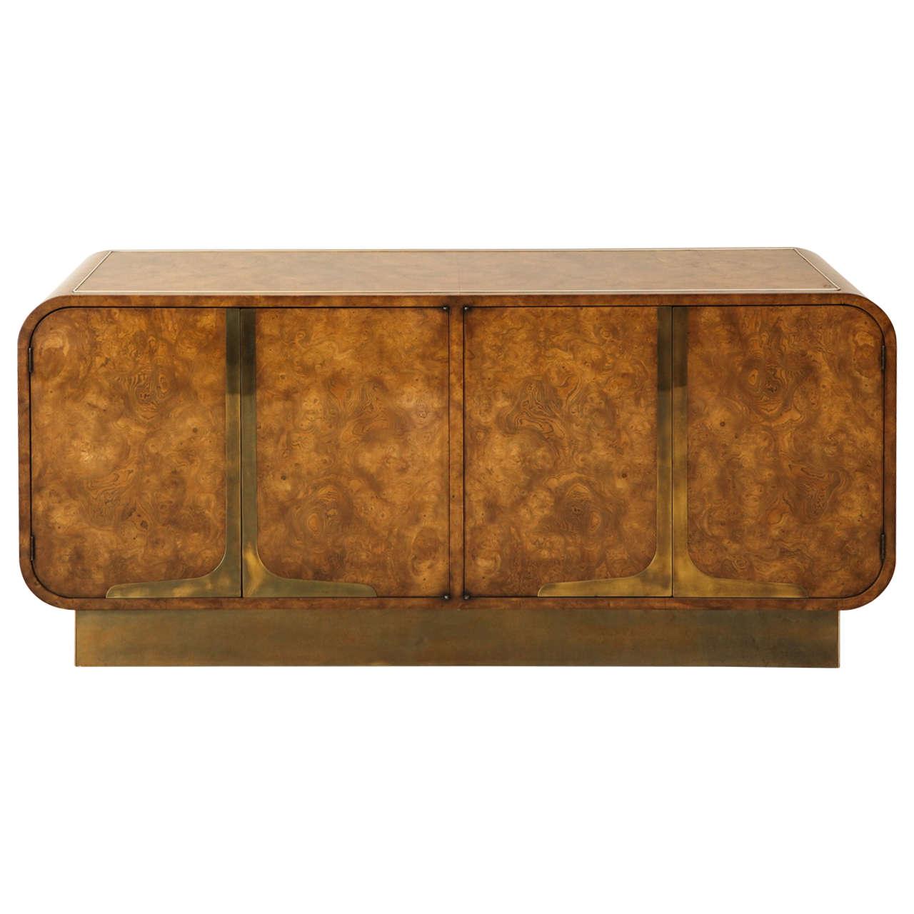 Burled Elmwood Cabinet by Mastercraft For Sale