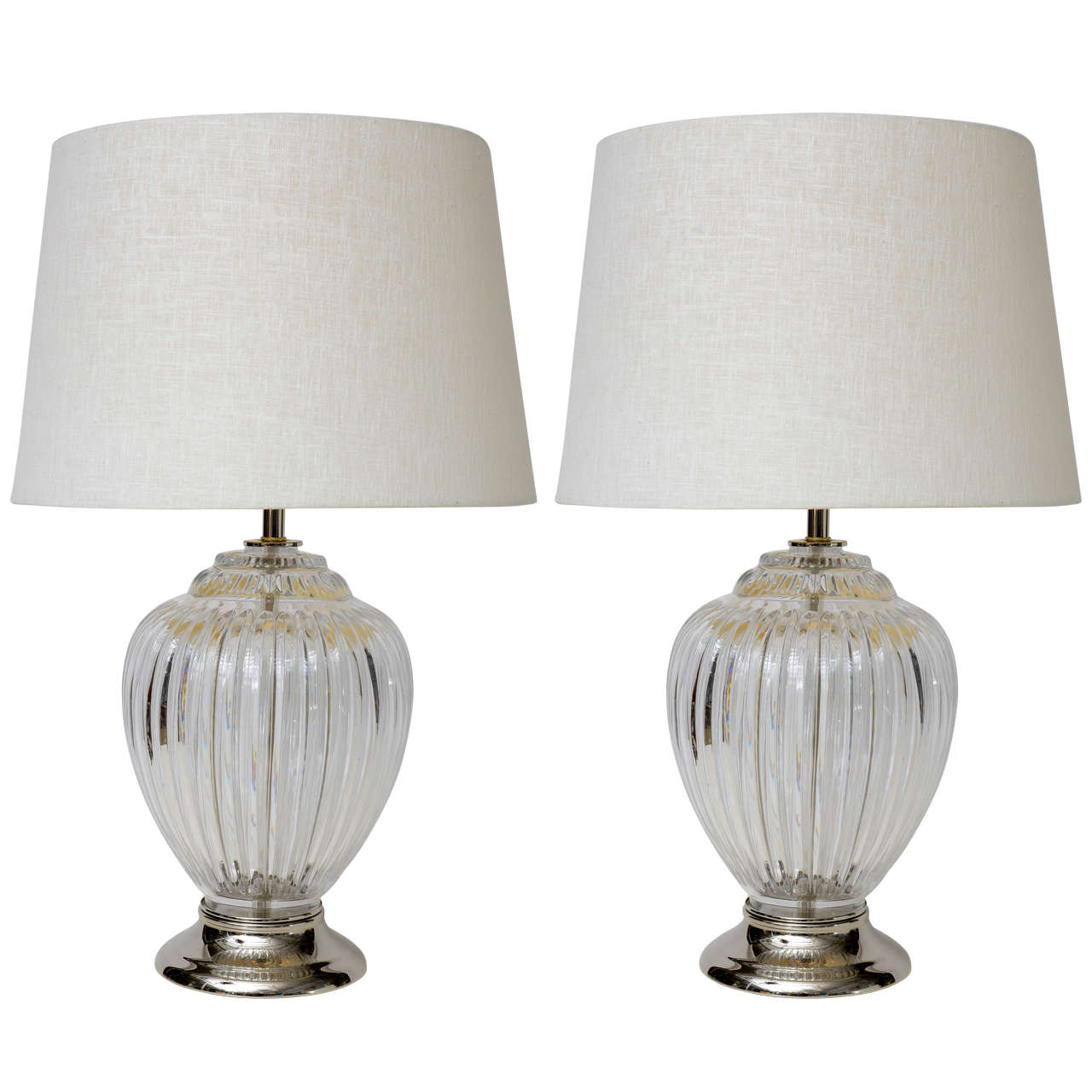 Substantial Pair of Baccarat Style Crystal Table Lamps For Sale at ...