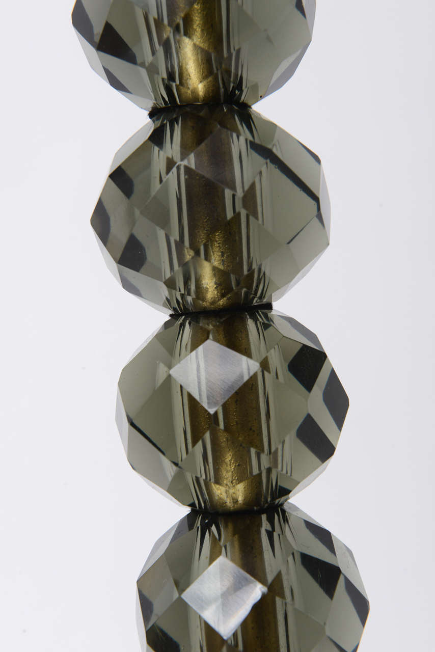 1950s Italian Faceted Smoke Crystal and Marble Floor Lamp For Sale 5