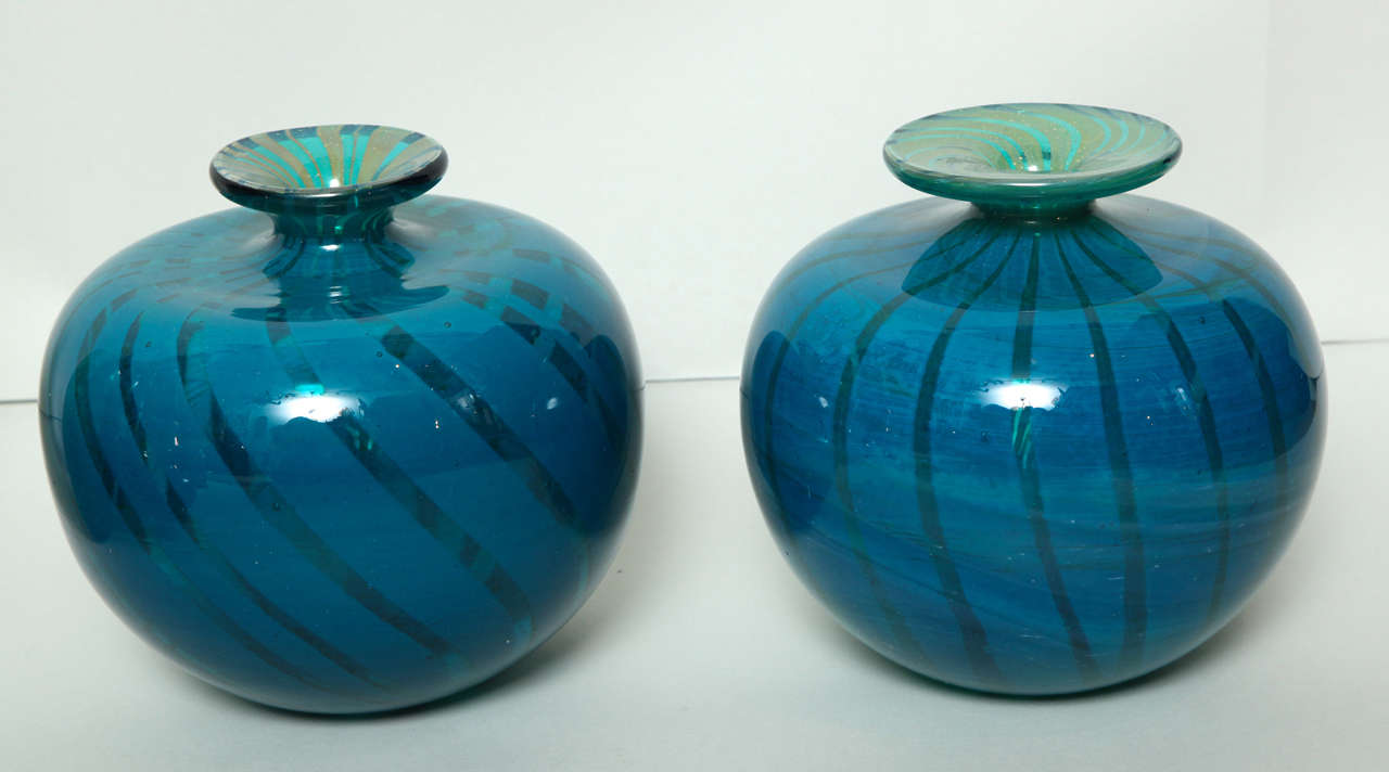 Modern Collection of Blue and Green Studio Glass Vases For Sale