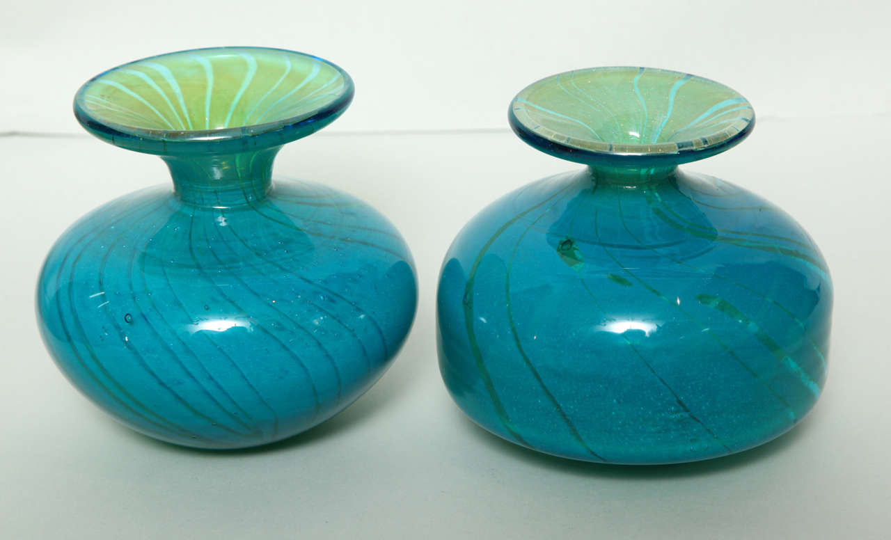 Maltese Collection of Blue and Green Studio Glass Vases For Sale