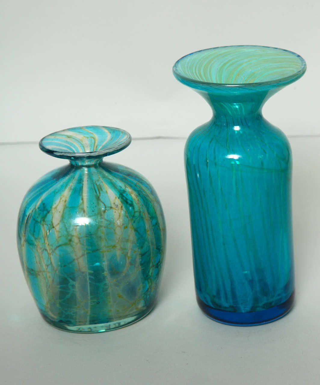 Mid-20th Century Collection of Blue and Green Studio Glass Vases For Sale