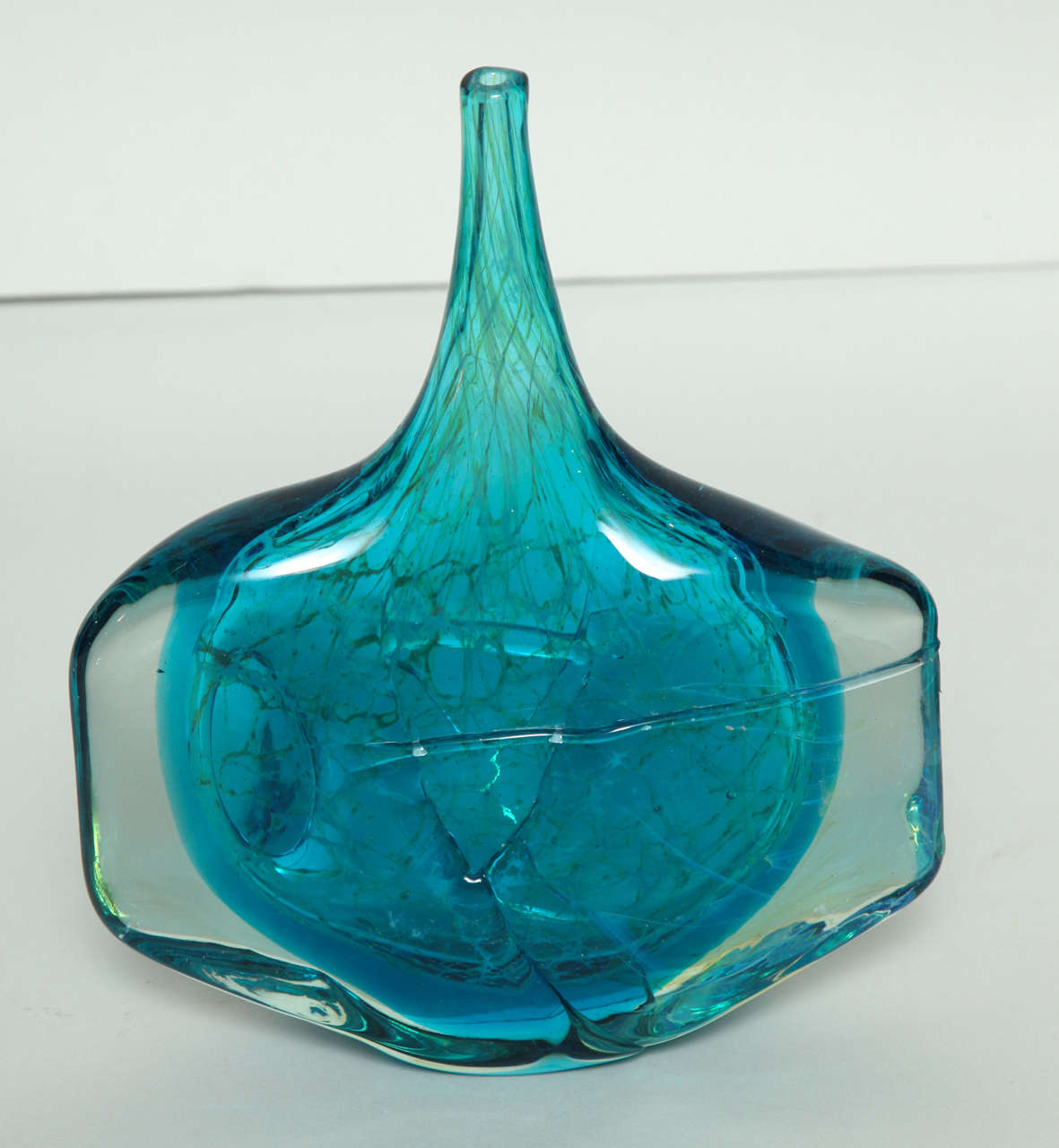 Collection of Blue and Green Studio Glass Vases For Sale 1