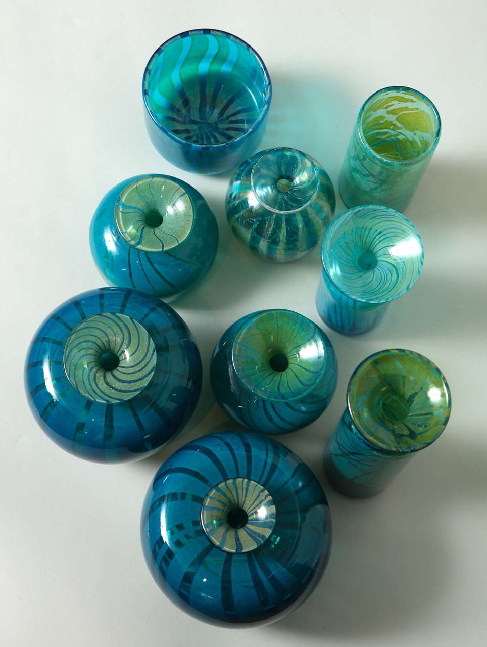 Collection of Blue and Green Studio Glass Vases For Sale 4
