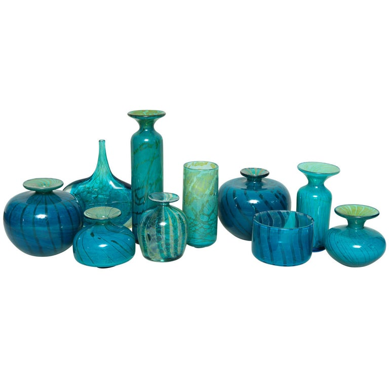 Collection of Blue and Green Studio Glass Vases For Sale