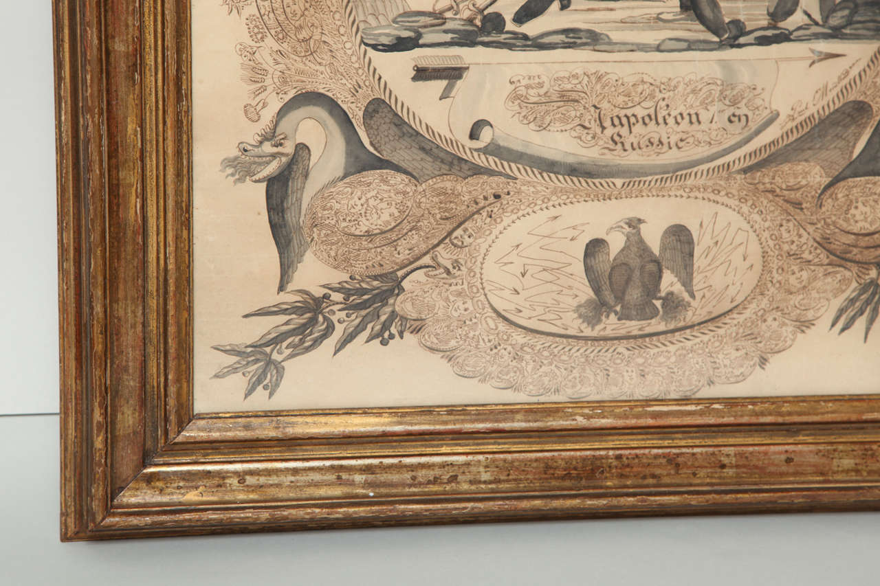 Napoleonic Folk Art Calligraphy Drawing In Excellent Condition For Sale In New York, NY