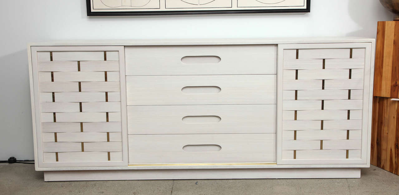 Harvey Probber Bleached Mahogany Woven Front Dresser At