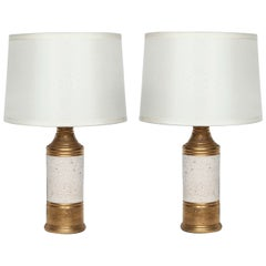 Bitossi Gold and Off White Glazed Lamps