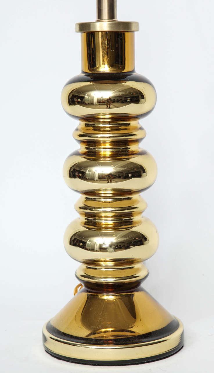 Scandinavian Modern Johansfors Swedish Modern Gold Mercury Glass Lamps For Sale