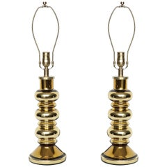 Johansfors Swedish Modern Gold Mercury Glass Lamps