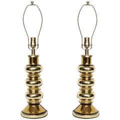 Swedish Modern Gold Glass Lamps by Johanfors