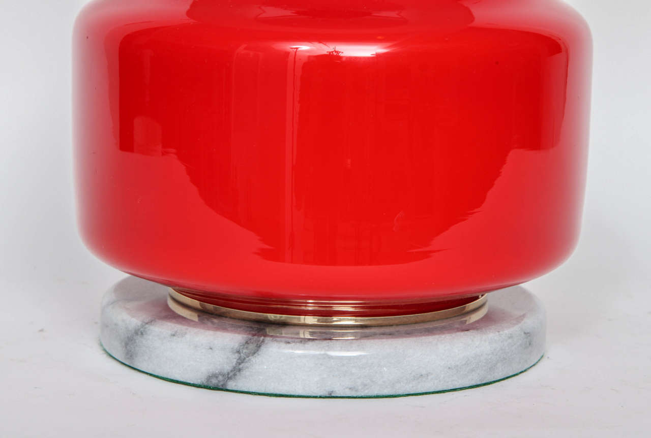 Italian Poppy Red Murano Glass Lamps by Vistosi For Sale