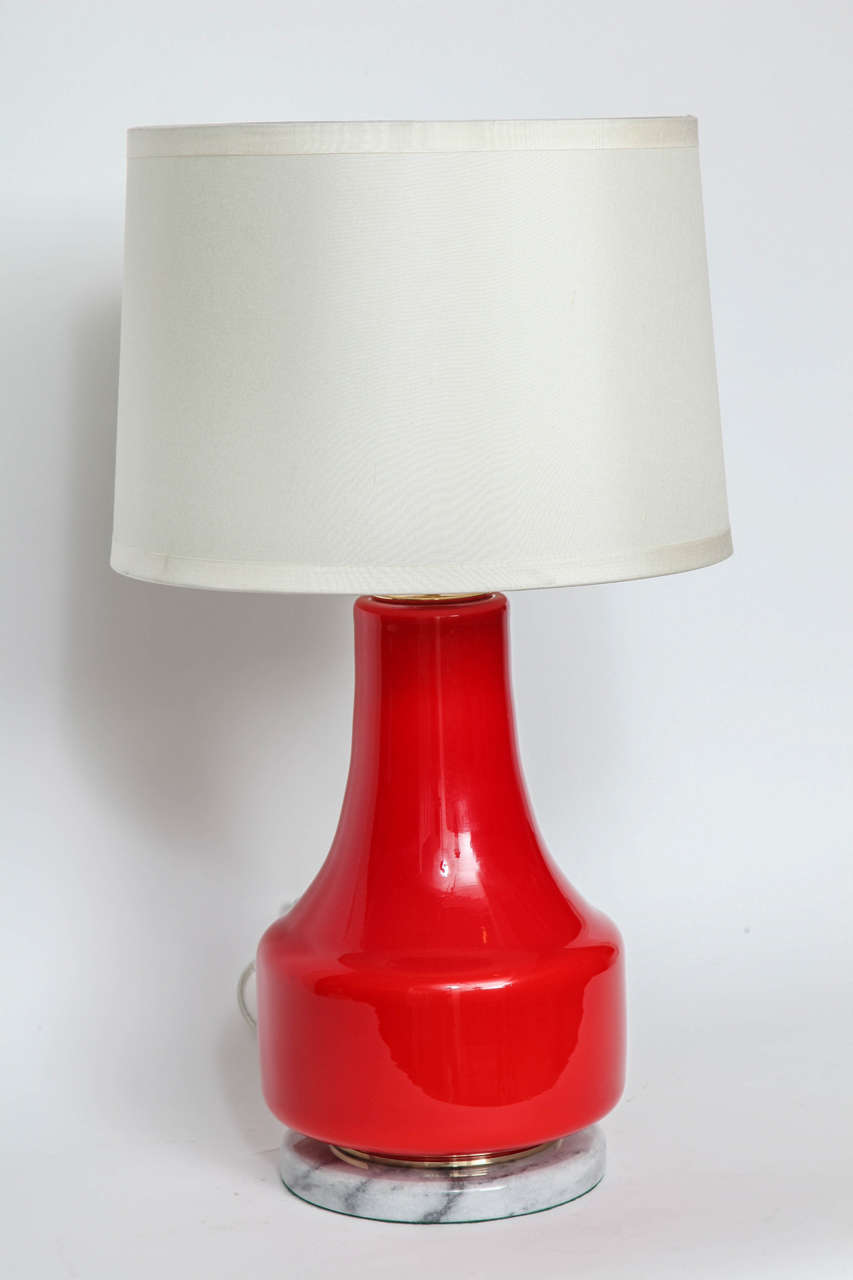Hand-Crafted Poppy Red Murano Glass Lamps by Vistosi For Sale