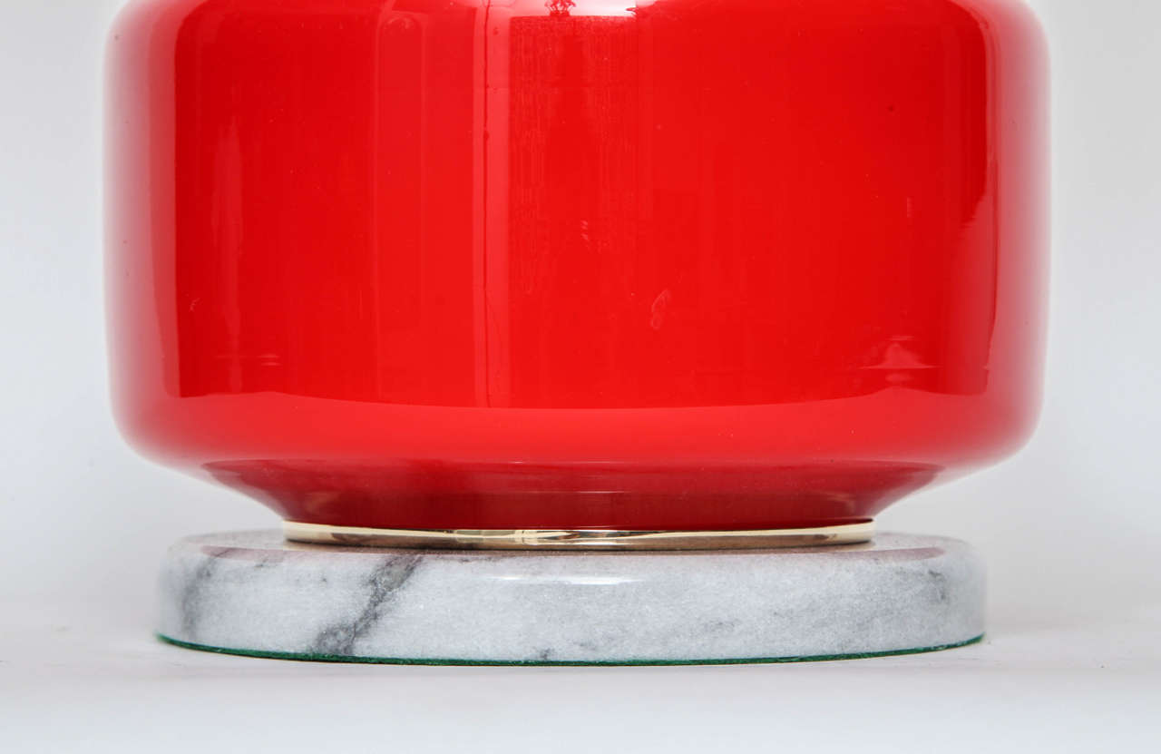 Poppy Red Murano Glass Lamps by Vistosi In Excellent Condition For Sale In New York, NY