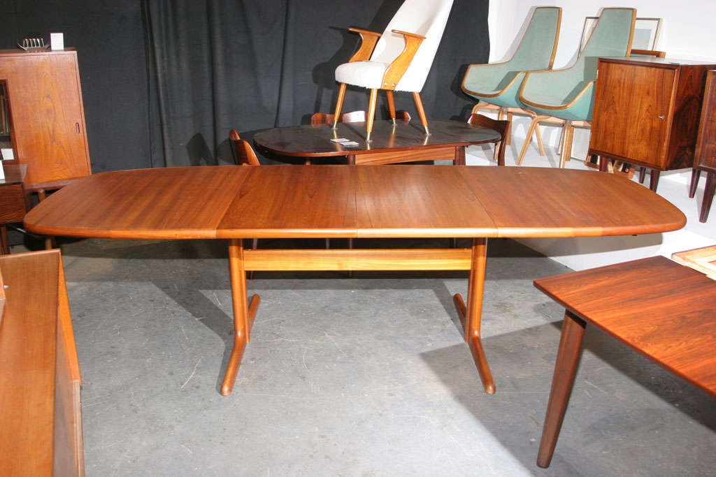 Large Danish Modern Oval Teak Dining Table 2