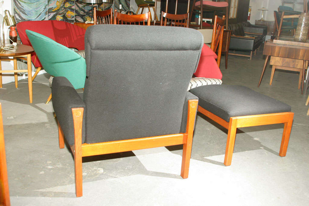 Highback Teak Lounge Chair And Ottoman By Hans Wegner At 1stdibs