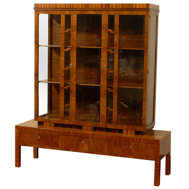 Hungarian Art Deco Walnut Glass Display Cabinet or Vitrine 1