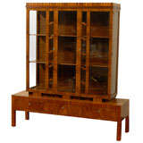 Hungarian Art Deco Walnut Glass Display Cabinet or Vitrine