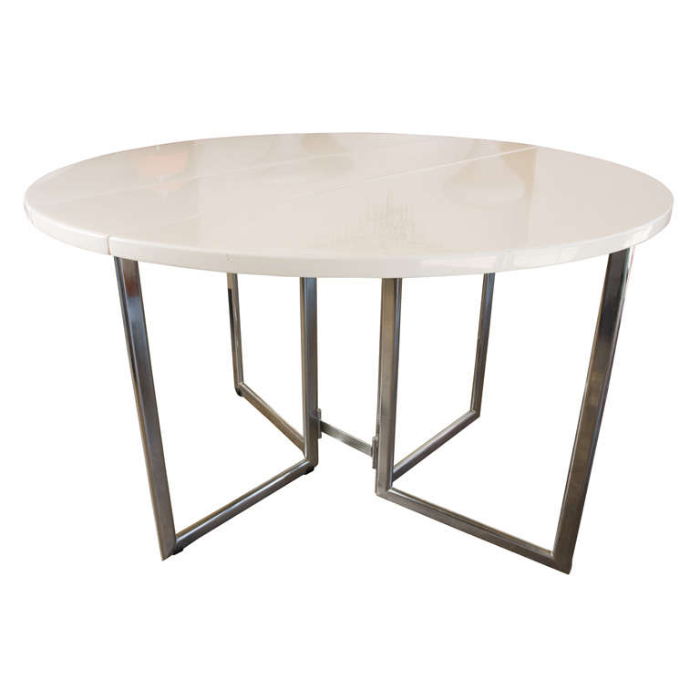 Italian Drop Leaf DiningKitchen Table In Chrome Laquer  : xMG1816 from 1stdibs.com size 768 x 768 jpeg 22kB