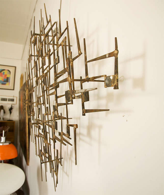 Geometric Metal Wall Decor : Geometric brass and metal abstract wall sculpture at stdibs