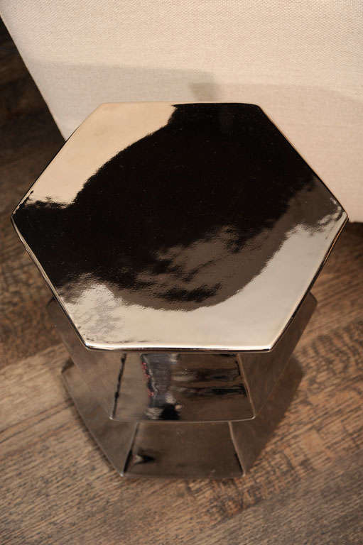 Hexagonal Silver Ceramic Stool image 3